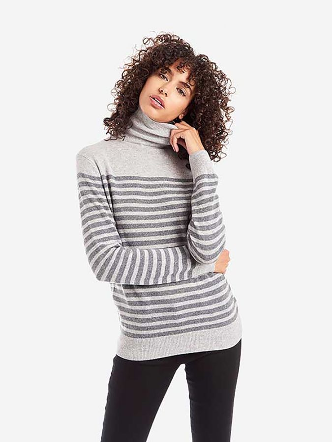 The Cashmere Turtleneck - Willow - Dove Gray/Heather Gray