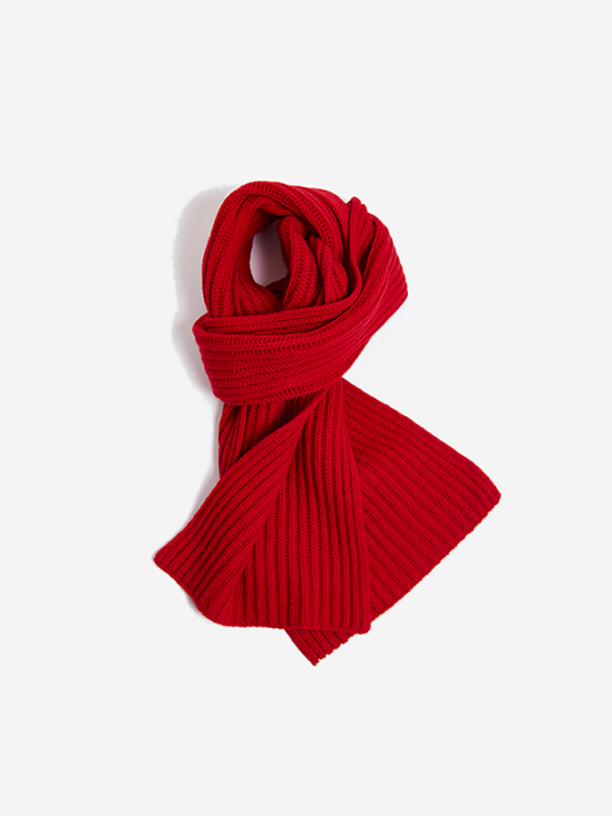 The Ribbed Scarf - Frost - Crimson