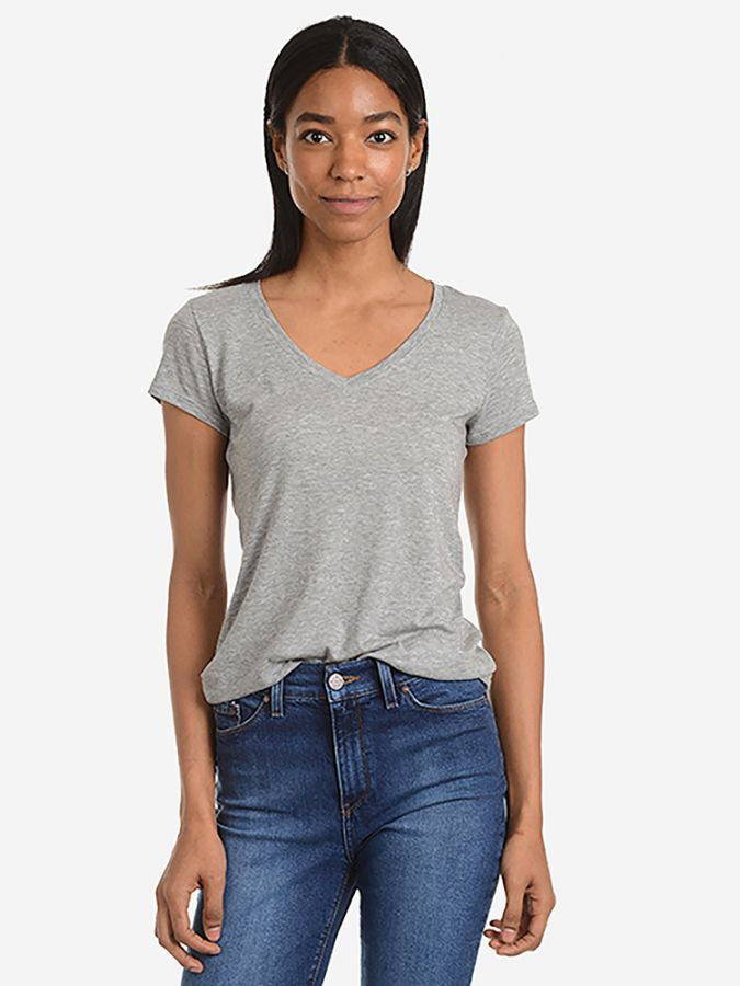 Fitted V-Neck - Marcy - Heather Gray