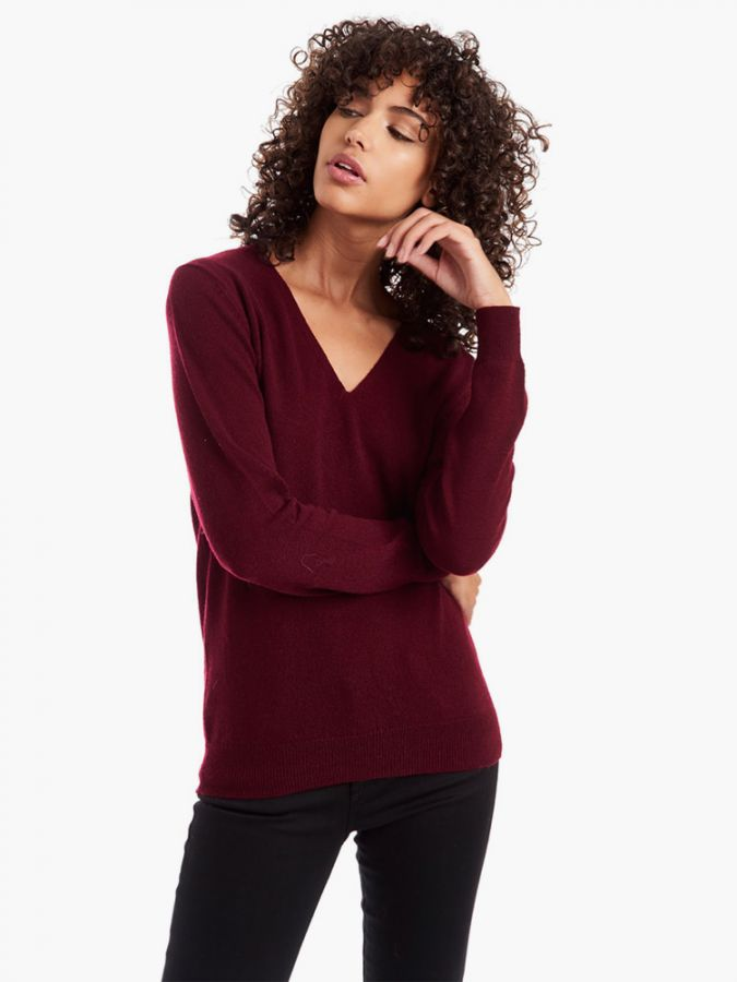 Cashmere Oversized V-Neck - Willow - Oxblood