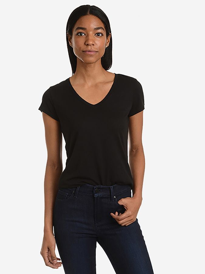 Fitted V-Neck - Marcy - Black