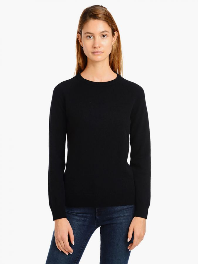 Cashmere Raglan Crew - Cambridge - Black