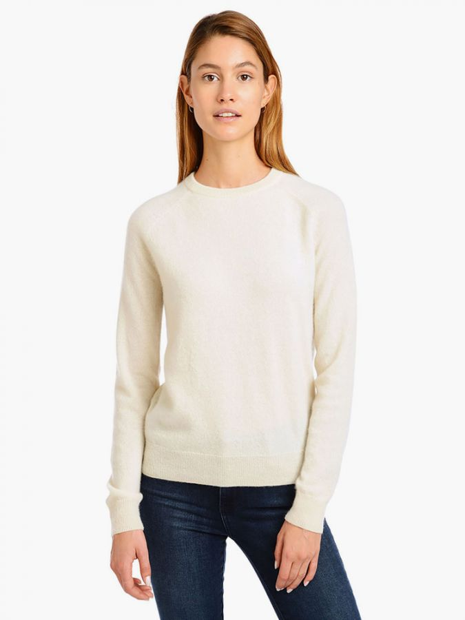 Cashmere Raglan Crew - Cambridge - Cream