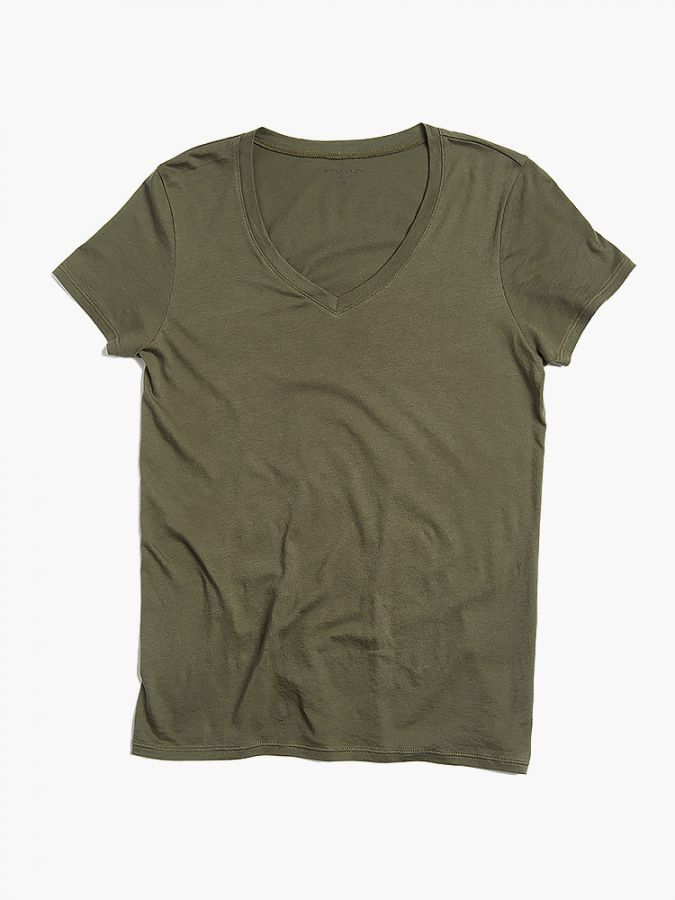 Fitted V-Neck - Marcy - Military Green