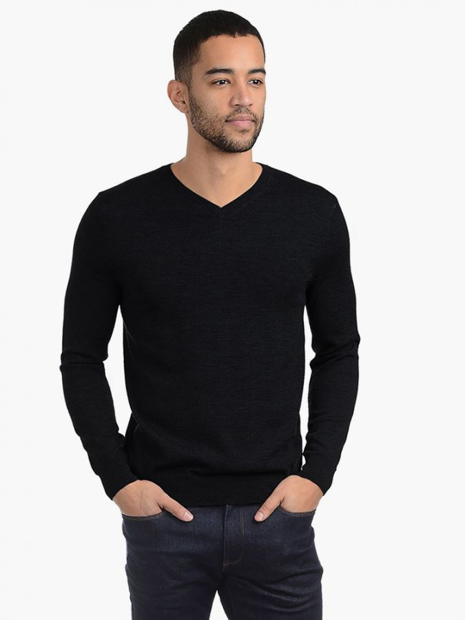 Light Merino Wool V-Neck - Lucas - Black