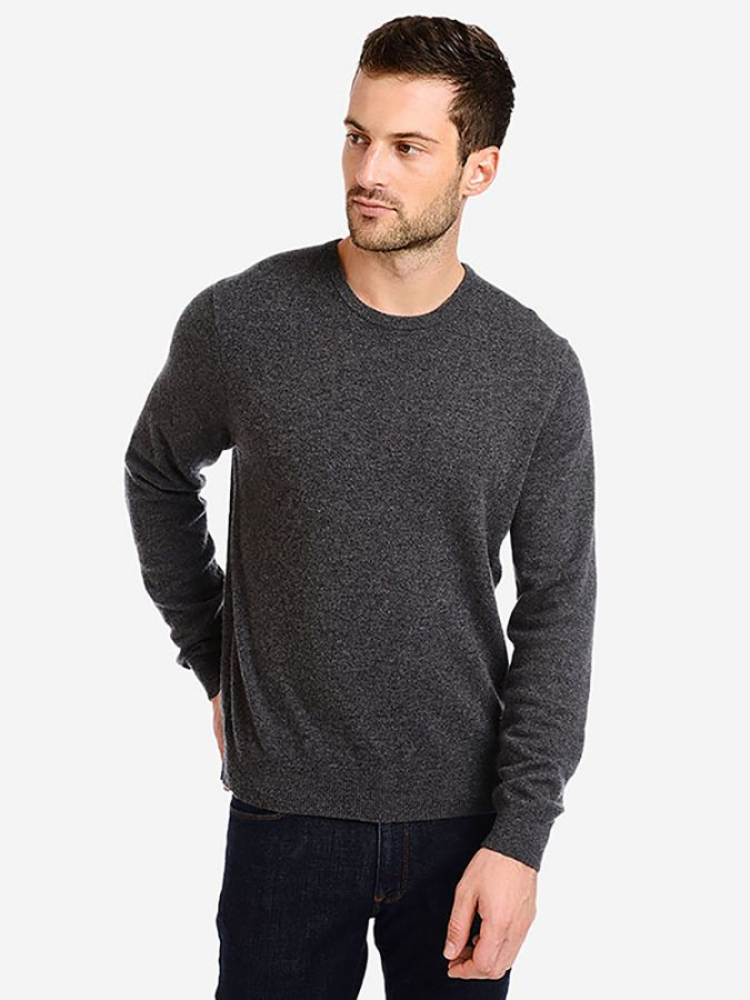 Classic Cashmere Crew - Bergen - Charcoal Heather