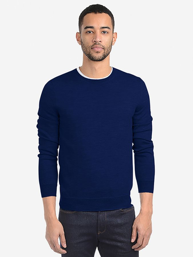 Light Merino Wool Crew - Lucas - Cobalt Blue