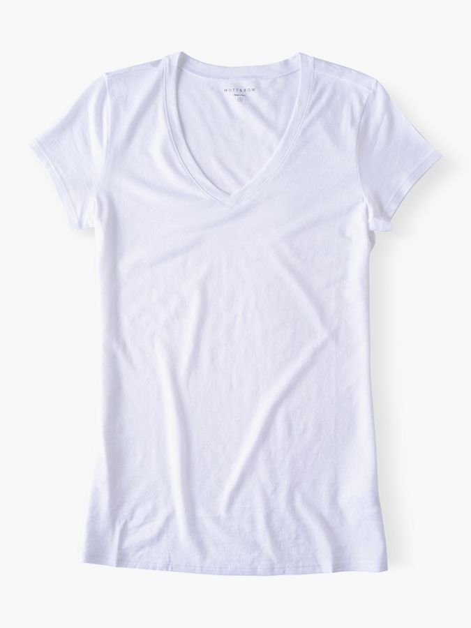 Fitted V-Neck - Marcy - White