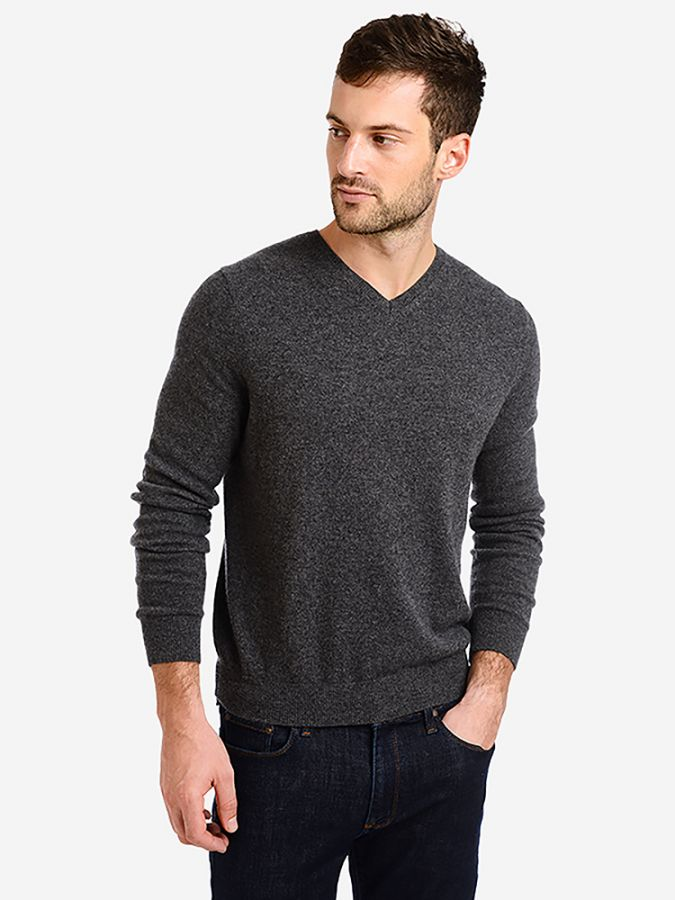 Classic Cashmere V-Neck - Bergen - Charcoal Heather