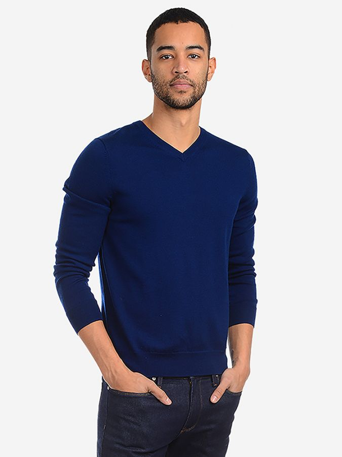 Light Merino Wool V-Neck - Lucas - Cobalt Blue