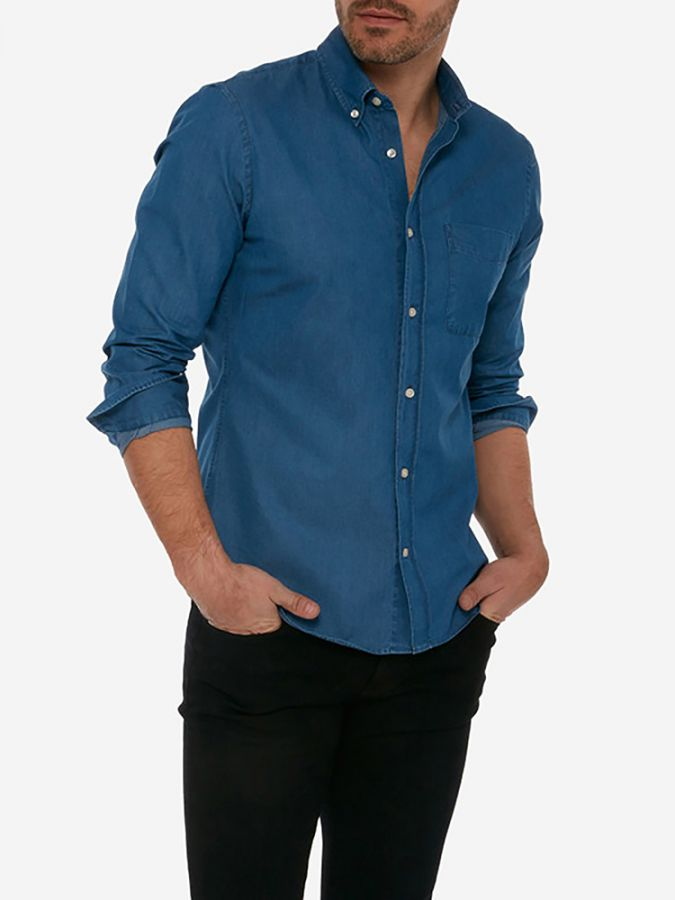 Slim Button Down - Graham - Medium Blue