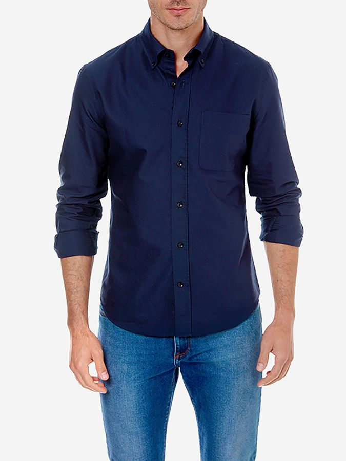 Slim Button Down Collar - Kent - Navy