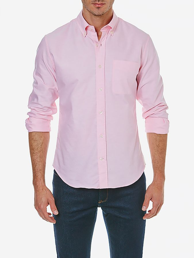 Slim Button Down Collar - Kent - Pink