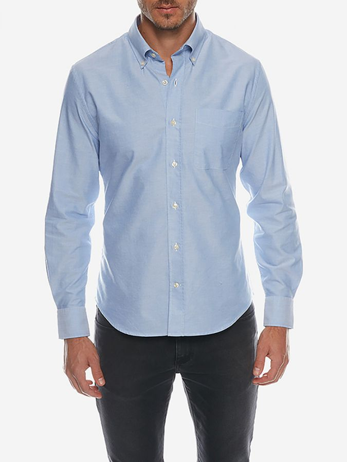 Slim Button Down Collar - Kent - Blue