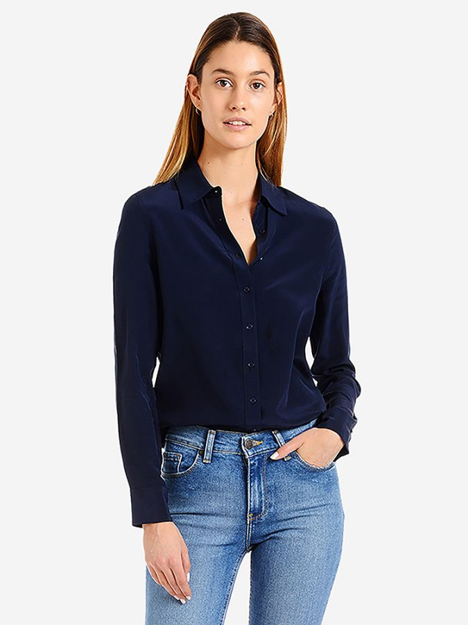 Silk Slim Fit Shirt - Harper - Navy