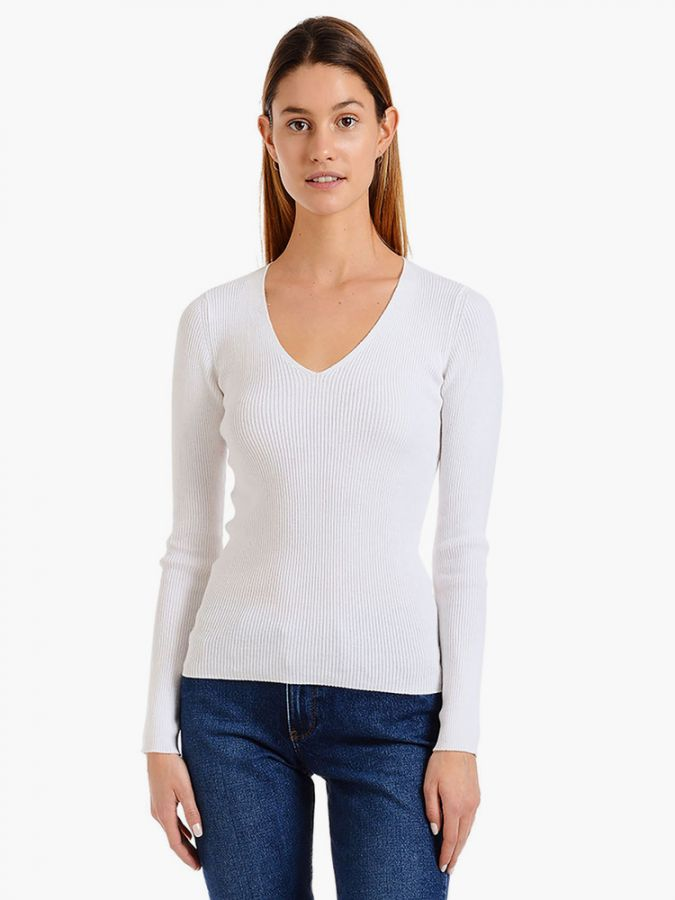 Light Ribbed Cotton/Cashmere V-Neck - Emma - Ivory