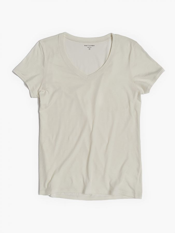 Fitted V-Neck - Marcy - Vintage White
