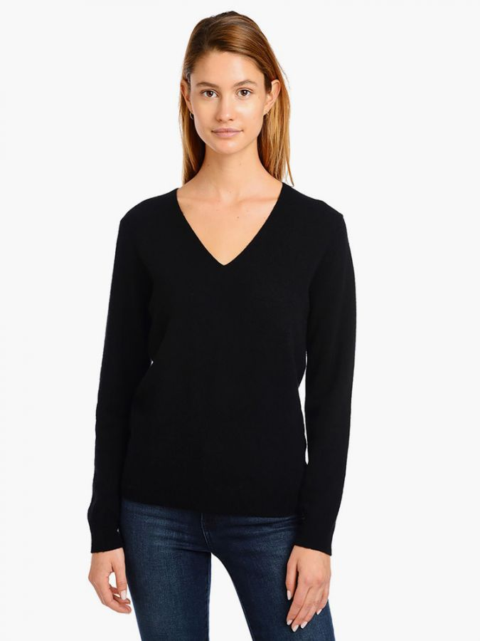 Cashmere Oversized V-Neck - Willow - Black