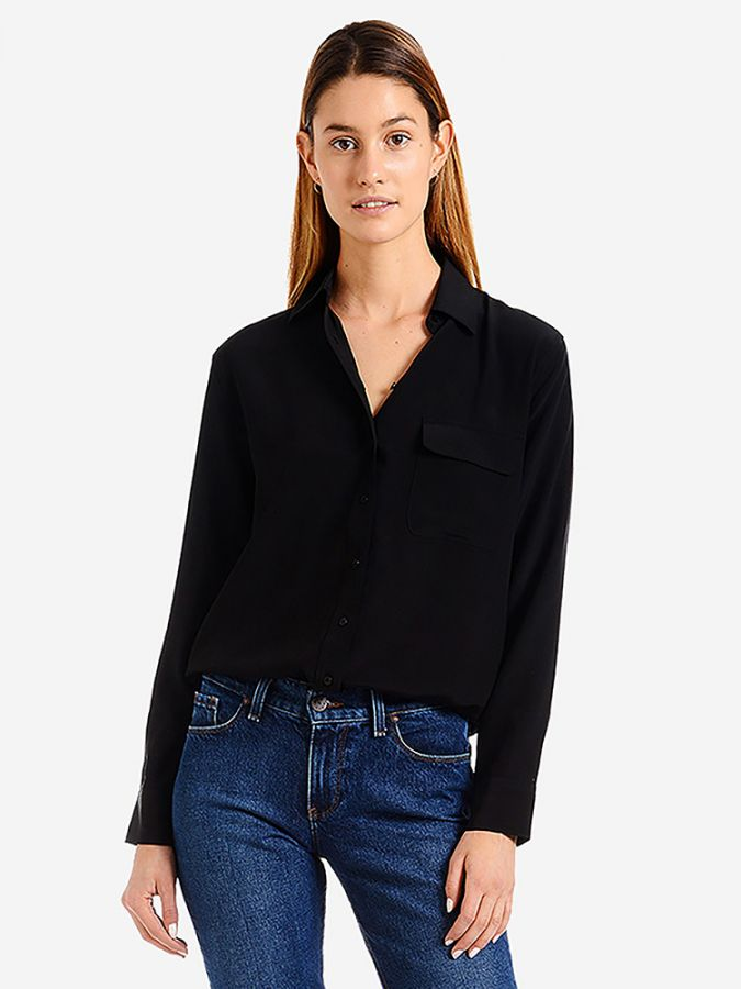 Silk Boxy Fit Shirt - Harper - Black