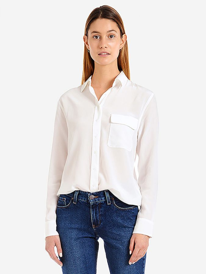 Silk Boxy Fit Shirt - Harper - Ivory