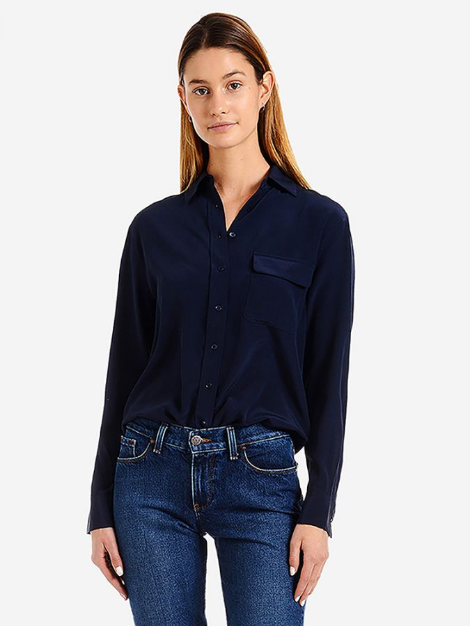 Silk Boxy Fit Shirt - Harper - Navy