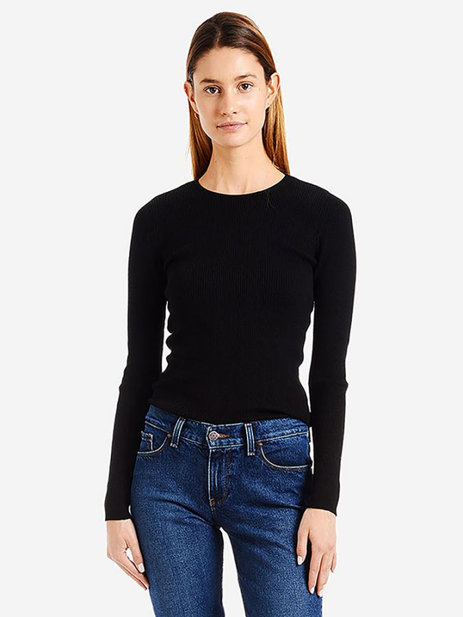 Light Ribbed Cotton/Cashmere Crew - Emma - Black