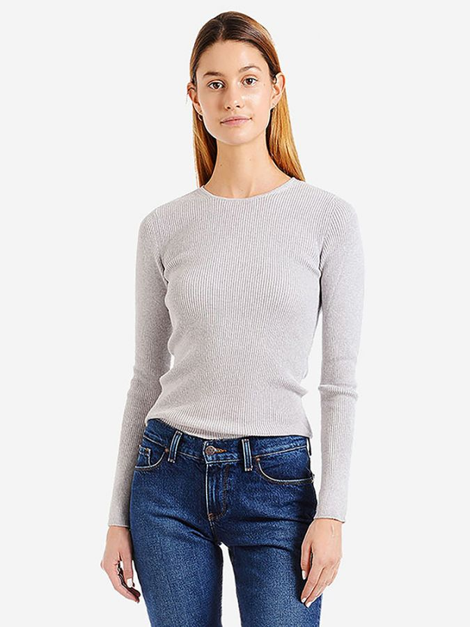 Light Ribbed Cotton/Cashmere Crew - Emma - Heather Gray