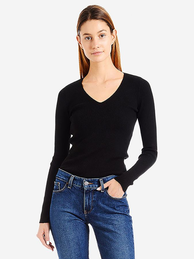 Light Ribbed Cotton/Cashmere V-Neck - Emma - Black