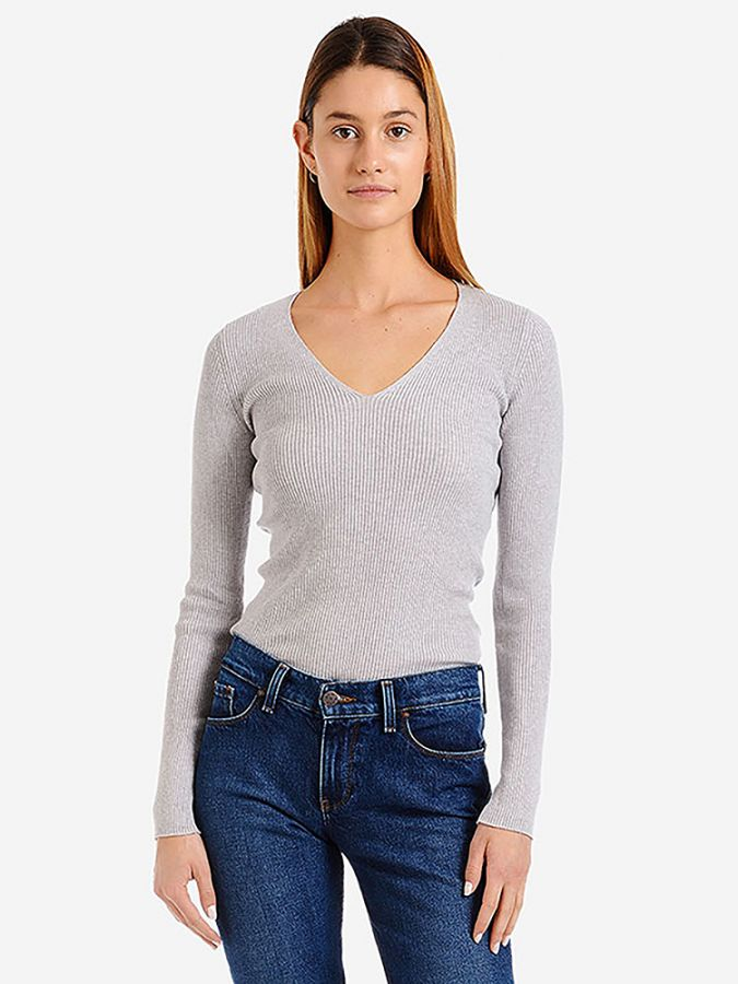 Light Ribbed Cotton/Cashmere V-Neck - Emma - Heather Gray