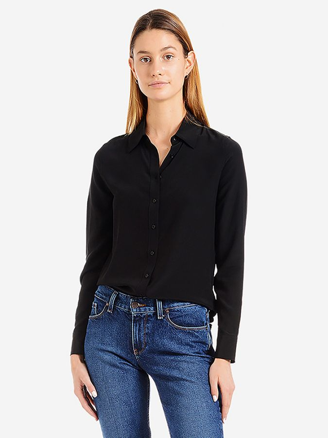 Silk Slim Fit Shirt - Harper - Black